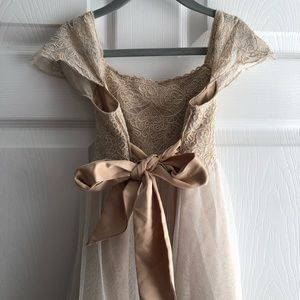 Girls champagne/ gold tulle dress size 7